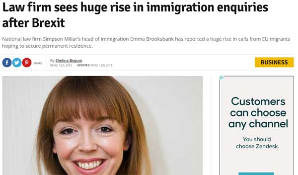 Law firm sees huge rise in immigration enquiries after Brexit
